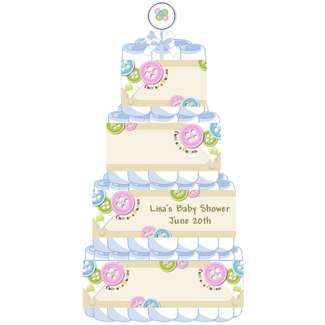 Cute As A On Personalized Baby Shower Diaper Cake 4 Tier