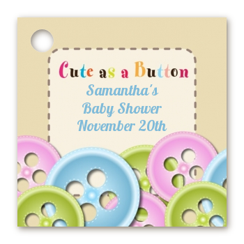 Cute As A Button   Personalized Baby Shower Card Stock Favor Tags