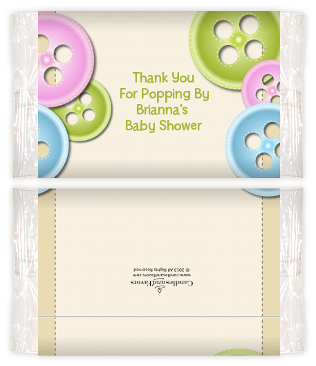 Cute As A Button Baby Shower Popcorn Wrappers Baby Shower Popcorn