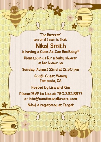 Cute as can bee baby shower invitations candles and favors cute as can bee baby shower invitations filmwisefo