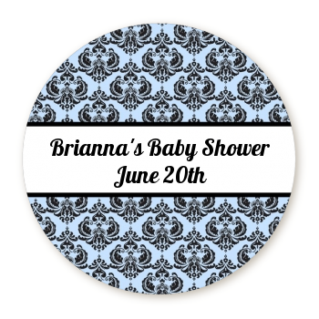 Damask - Round Personalized Baby Shower Sticker Labels White / Black