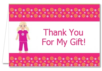 Doll Party Blonde Hair - Birthday Party Thank You Cards