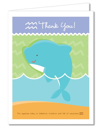 Dolphin | Aquarius Horoscope - Baby Shower Thank You Cards