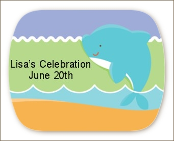 Dolphin | Aquarius Horoscope - Personalized Baby Shower Rounded Corner Stickers