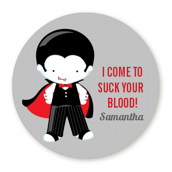 Dracula - Round Personalized Halloween Sticker Labels