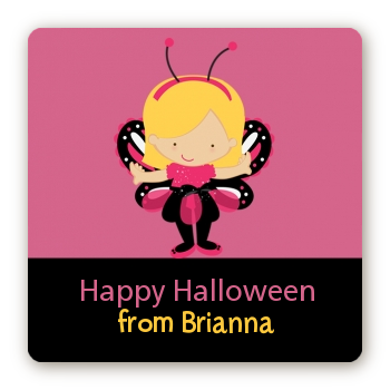 Dress Up Butterfly Costume - Square Personalized Halloween Sticker Labels