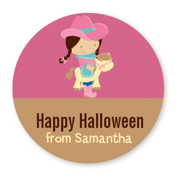 Dress Up Cowgirl Costume - Round Personalized Halloween Sticker Labels