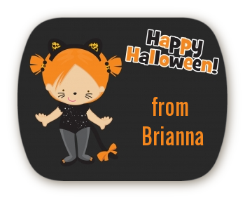 Dress Up Kitty Costume - Personalized Halloween Rounded Corner Stickers