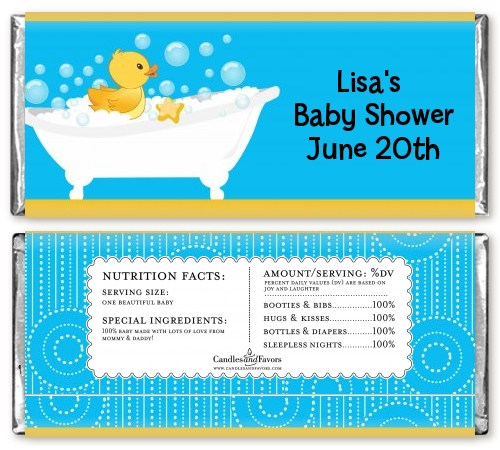 duck baby shower candy bar wrappers candles favors