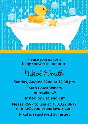 duck baby shower invitations  candles and favors, Baby shower
