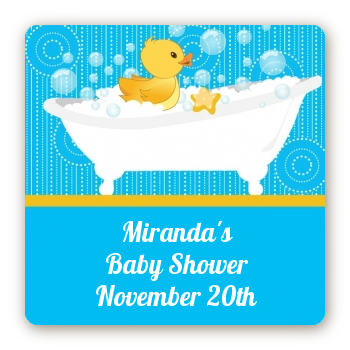 Duck - Square Personalized Baby Shower Sticker Labels