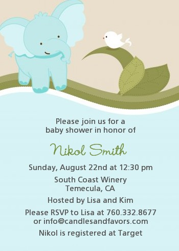 elephant baby blue baby shower invitations | candles and favors,