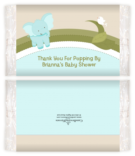 Elephant Baby Blue Baby Shower Popcorn Wrappers Baby Shower