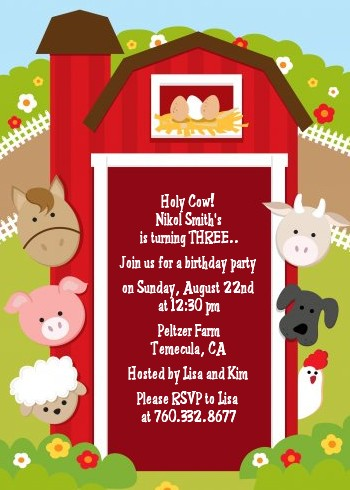 Farm Theme Party Invitations with amazing invitation design