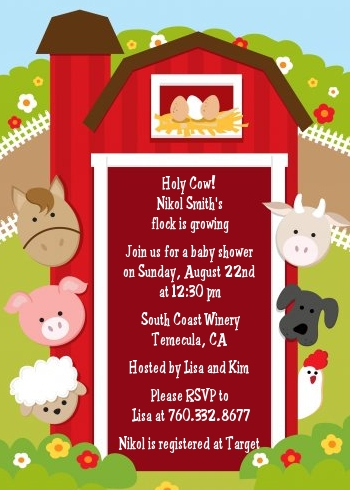 farm animals baby shower invitations candles and favors