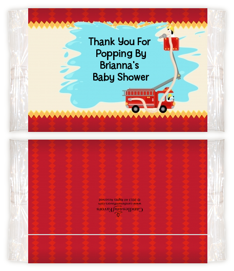 Fire Truck Baby Shower Popcorn Wrappers Baby Shower Popcorn Wrappers