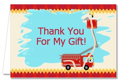 fire truck baby shower thank you cards