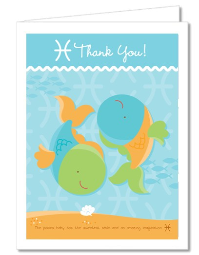 Baby Shower Thank You Cards  Fish  Pisces Horoscope Thank You Notes