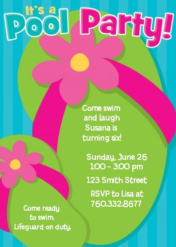 Flip Flops Girl Pool Party Birthday Invitations