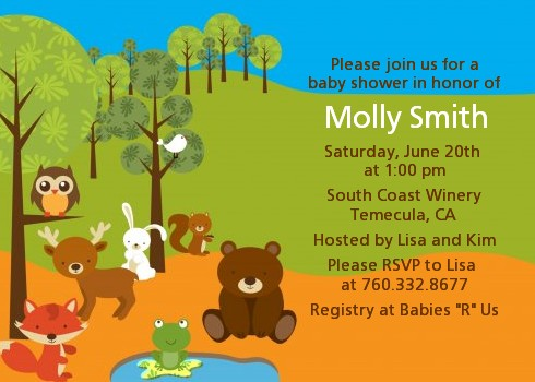 Forest Animals Baby Shower Invitations Click To Enlarge