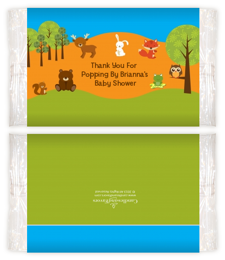 Forest Animals Baby Shower Popcorn Wrappers Baby Shower Popcorn