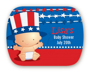 Fourth Of July Stars & Stripes - Personalized Baby Shower Rounded Corner Stickers