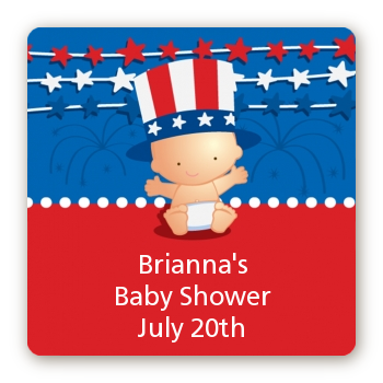 Fourth Of July Stars & Stripes - Square Personalized Baby Shower Sticker Labels