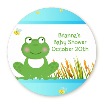 Froggy - Round Personalized Baby Shower Sticker Labels
