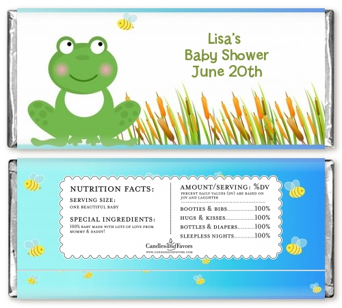 froggy baby shower candy bar wrappers candles favors