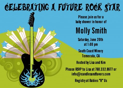 Future Rock Star Boy Baby Shower Invitations Candles And