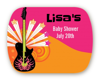Future Rock Star Girl - Personalized Baby Shower Rounded Corner Stickers