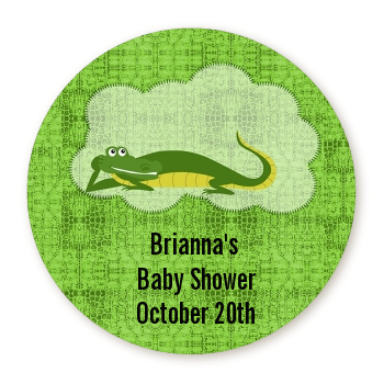 Gator - Round Personalized Baby Shower Sticker Labels