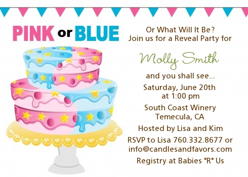 Gender Reveal Cake Baby Shower Invitations | Candles and Favors