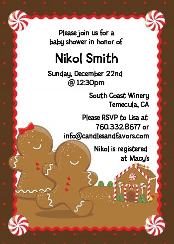 Gingerbread House - Christmas Invitations