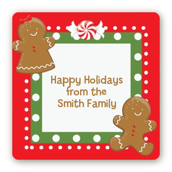 Gingerbread Party - Square Personalized Christmas Sticker Labels