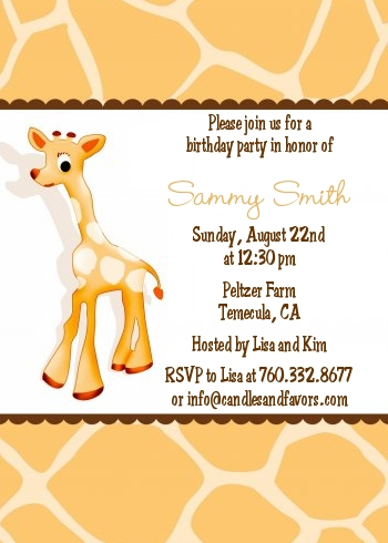 giraffe brown birthday party invitations candles and favors