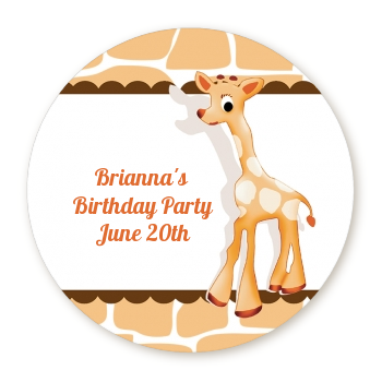 Giraffe Brown - Round Personalized Birthday Party Sticker Labels