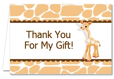 Giraffe Brown   Baby Shower Thank You Cards Giraffe   Brown