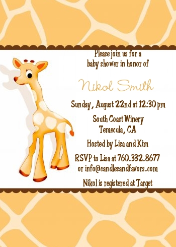Giraffe Brown Baby Shower Invitations Candles and Favors