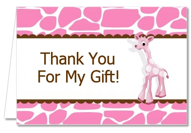 Giraffe Pink - Birthday Party Thank You Cards