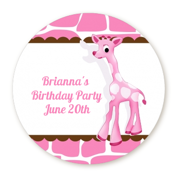 Giraffe Pink - Round Personalized Birthday Party Sticker Labels