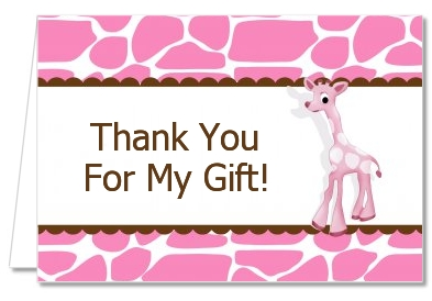 giraffe pink baby shower thank you cards