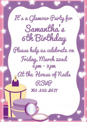 glamour girl birthday party invitations - Girl Birthday Party Invitations