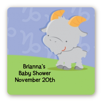 Goat | Capricorn Horoscope - Square Personalized Baby Shower Sticker Labels