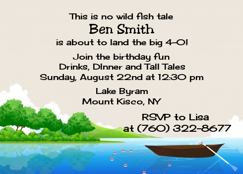 Gone Fishing Birthday Party Invitations Candles and Favors