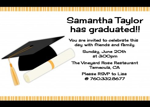 Graduation Cap Party Invitations Candles And
