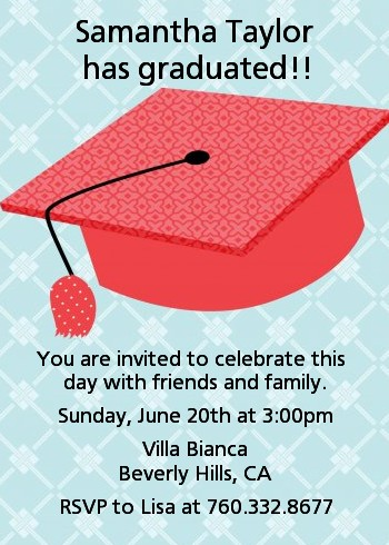 Graduation Cap Red - Graduation Party Invitations