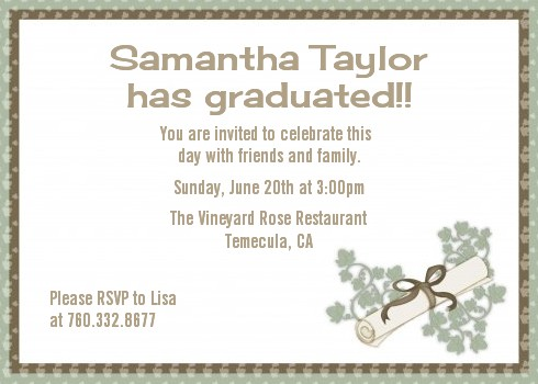Graduation Diploma Graduation Party Invitations Candles And Favors - Sample graduation party invitation