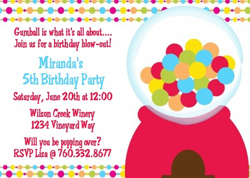 Gumball Birthday Party Invitations Candles And Favors