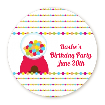 Gumball - Round Personalized Birthday Party Sticker Labels
